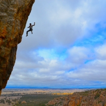 Gavin ejecting off Final Departure (Bluff Major, Arapiles – Australia)