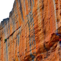 Ollie and Danny (the chap with the moustache) taking on Serpentine (Taipan Wall, Grampians – Australia)